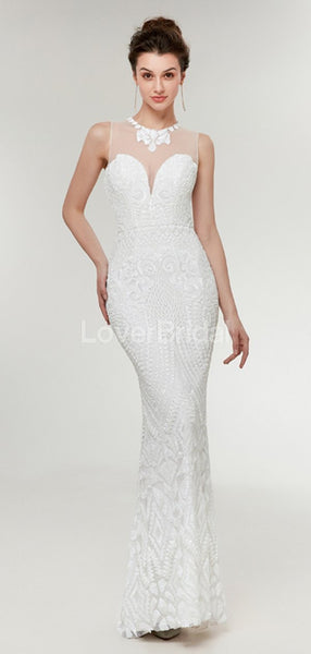 Off White Lace Mermaid Evening Prom Dresses, Evening Party Prom Dresses, 12017