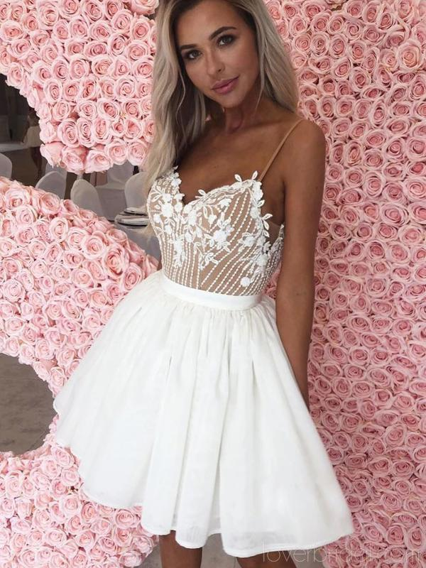Off White Spaghetti Straps Cheap Homecoming Dresses Online, Cheap Short Prom Dresses, CM745
