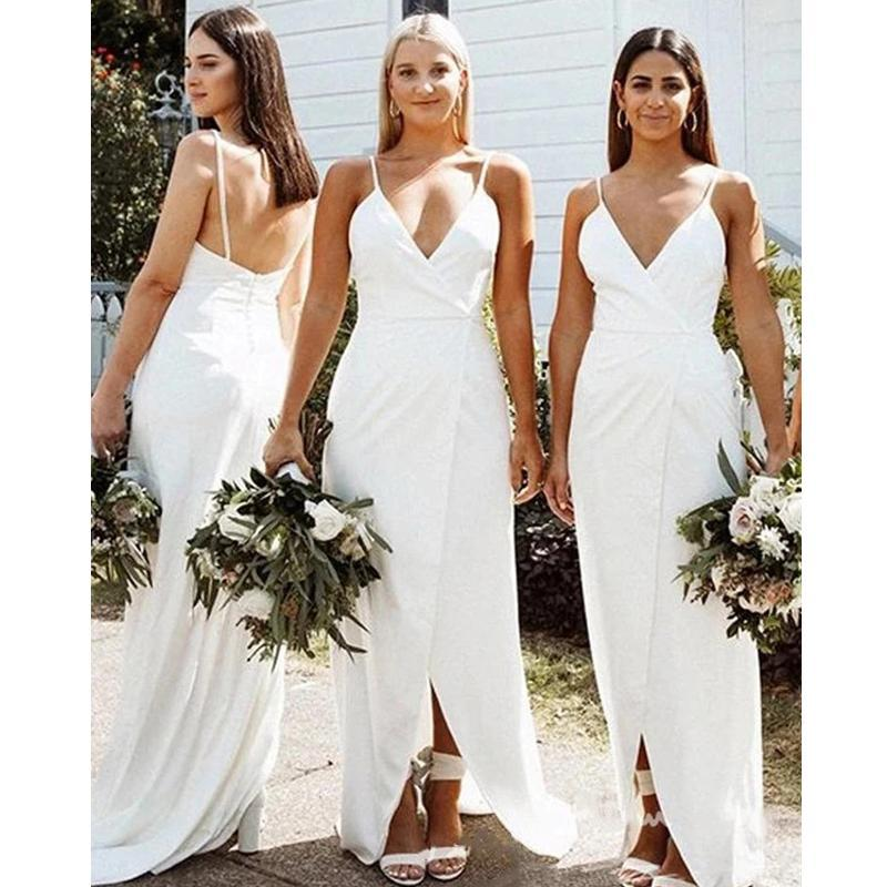Off White Spaghetti Straps  Long Bridesmaid Dresses Online, Cheap Bridesmaids Dresses, WG728