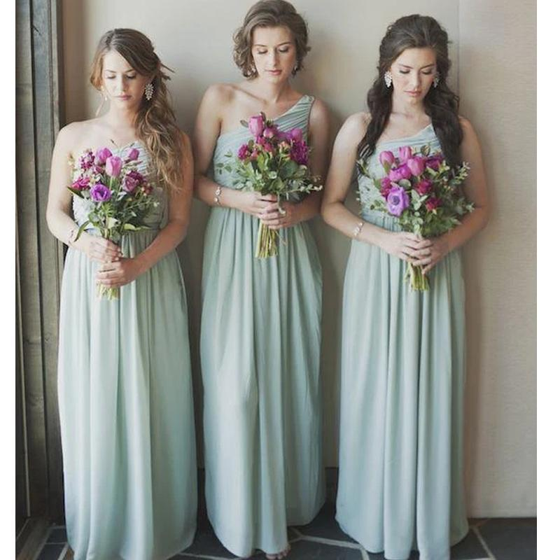 One Shoulder Chiffon Sage Bridesmaid Dresses Online, WG784