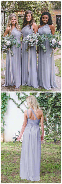 One Shoulder Dusty Blue Long Chiffon Cheap Bridesmaid Dresses Online, WG260