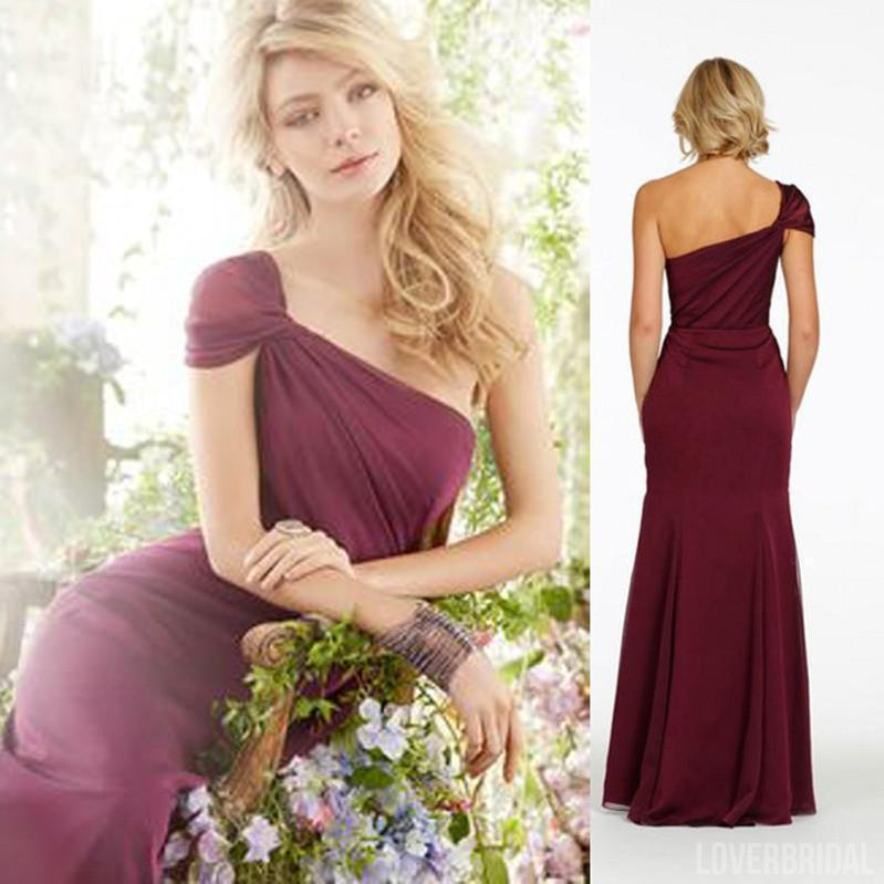 One Shoulder Elegant Formal Long Wedding Bridesmaid Dresses, WG368
