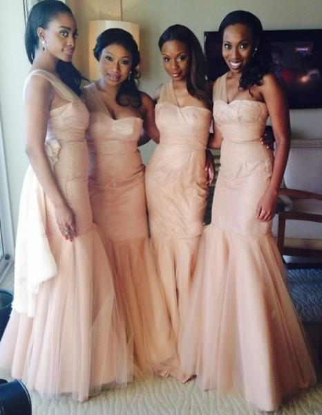One Shoulder Mermaid Tulle Inexpensive Long Wedding Bridesmaid Dresses, WG326