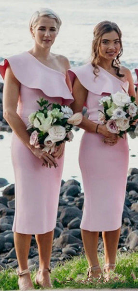 One Shoulder Pink Short Cheap Bridesmaid Dresses Online, WG674