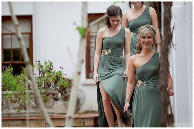 One Shoulder Side Slit Unique Jersey Long Wedding Bridesmaid Dresses, WG329