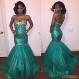 Online Gorgeous Green Sweetheart Mermaid Shinning Long Prom Dress, WG540