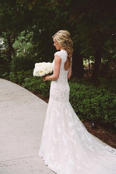 Open Back Cap Sleeves Lace Mermaid Long Wedding Bridal Dresses, WD291