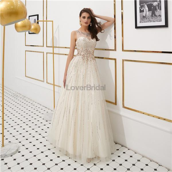 Open Back Cowl Rhinestone Beaded Evening Prom Dresses, Evening Party Prom Dresses, 12088