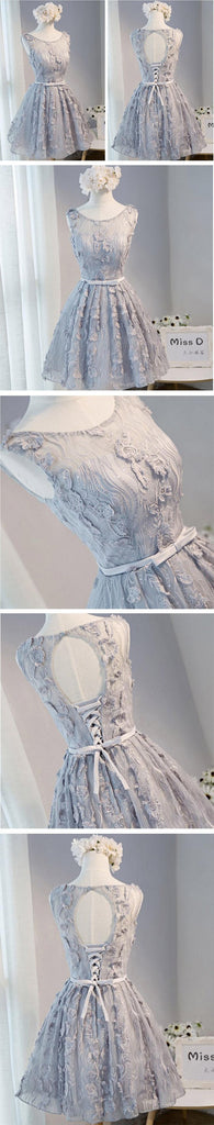 Open Back Gray Lace Scoop Neckline Homecoming Prom Dresses, Affordable Short Party Prom Dresses, Perfect Homecoming Dresses, CM274