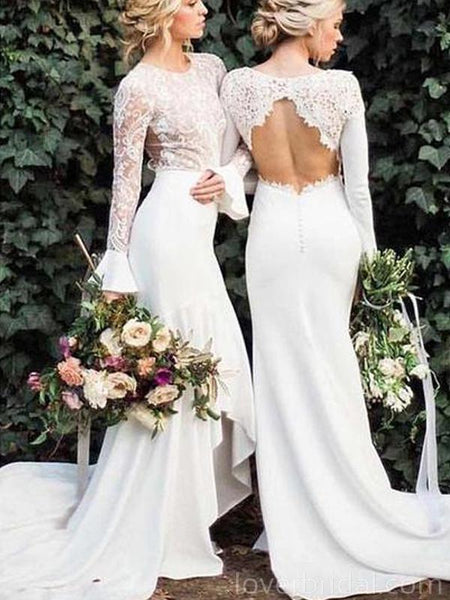 Open Back Long Sleeves Mermaid Cheap Wedding Dresses Online, Cheap Bridal Dresses, WD545