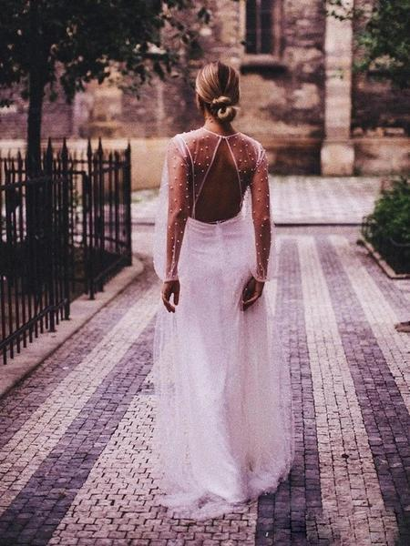 Open Back Long Sleeves Pearls Beaded Cheap Wedding Dresses Online, Cheap Unique Bridal Dresses, WD608