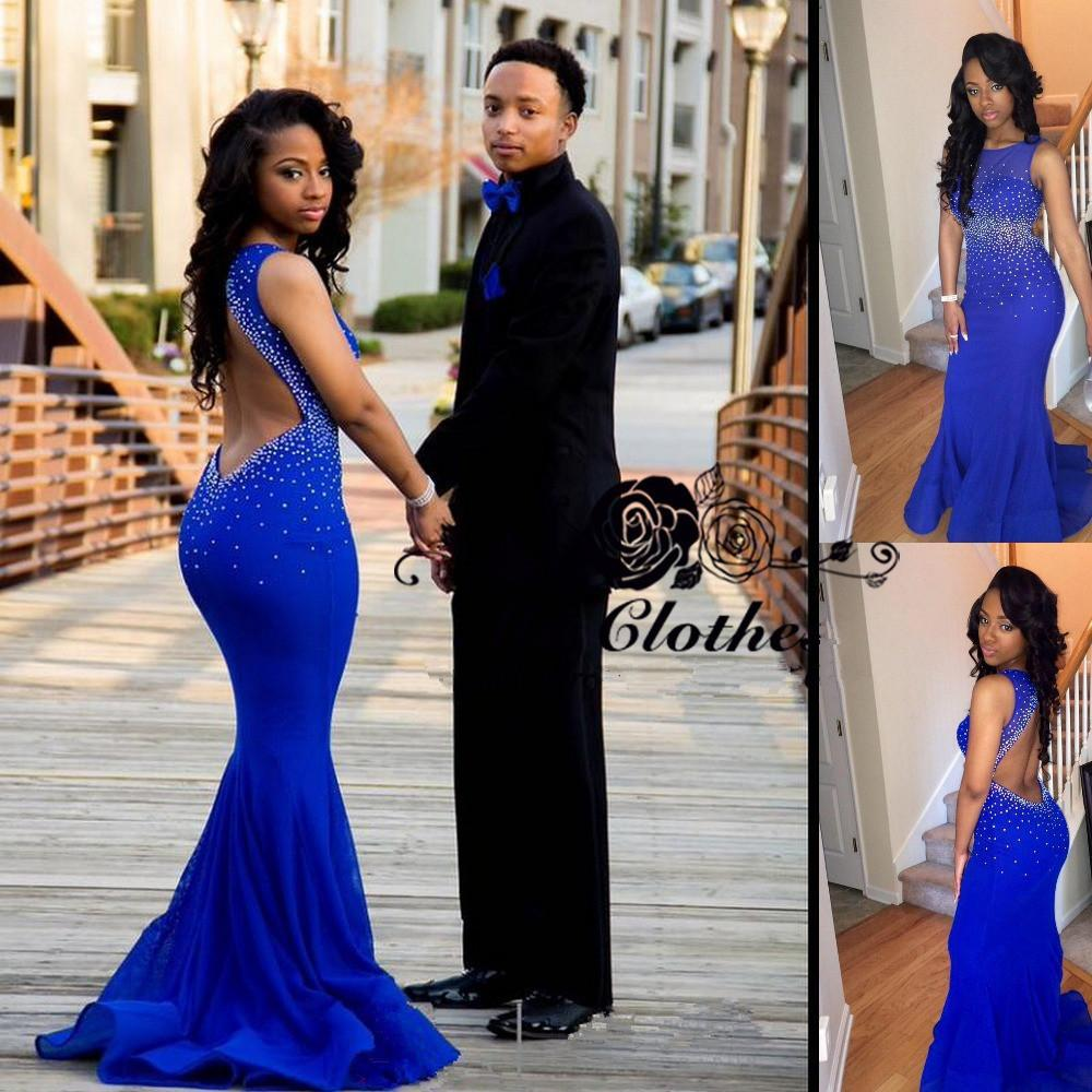 Open Back Royal Blue Mermaid Sleeveless Sexy Cheap Long Prom Dress, WG548