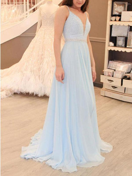 Pale Blue Sexy Backless V Neck Spaghetti Straps Long Evening Prom Dresses, 17650