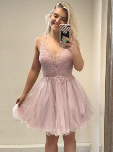 Pale Pink V Neck Backless Lace Cheap Short Homecoming Dresses Online, CM657