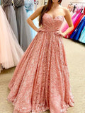 Peach Lace Beaded Sweetheart A-line Cheap Evening Prom Dresses, Sweet 16 Dresses, 17497
