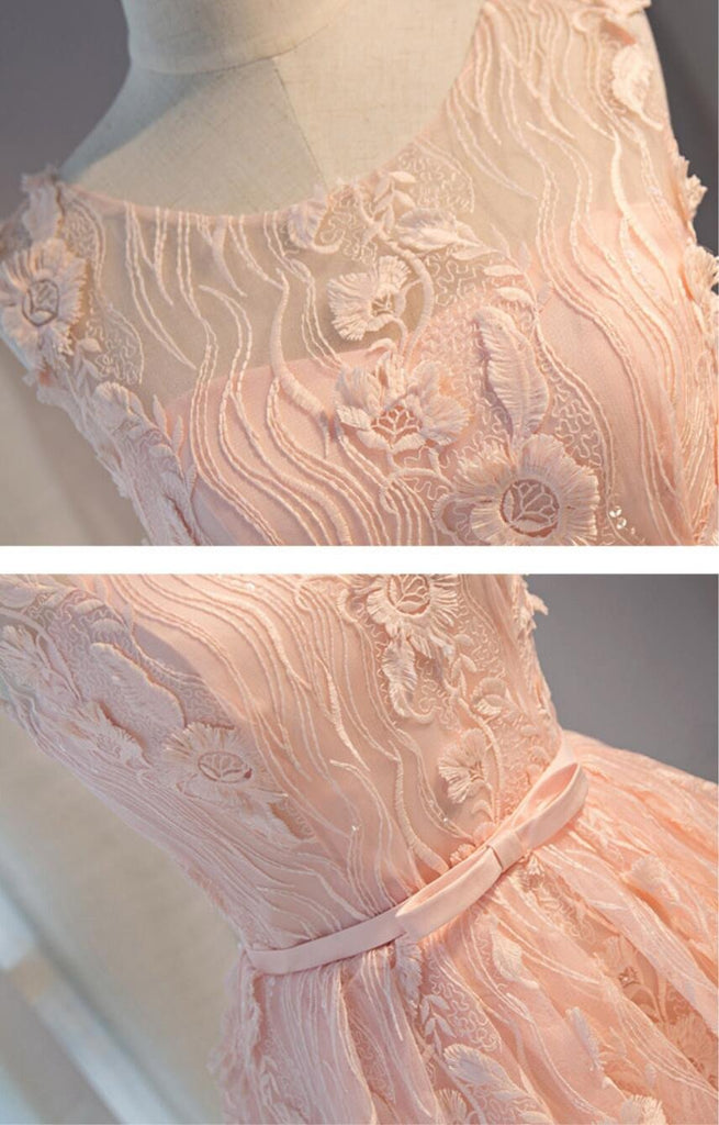 Peach Lace Short Peach Cute Homecoming Prom Dresses, Affordable Short Party Prom Dresses, Perfect Homecoming Dresses, CM302