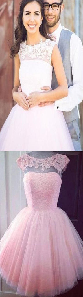 Peach pink see through lace cute a-line freshman homecoming prom dress,BD0012