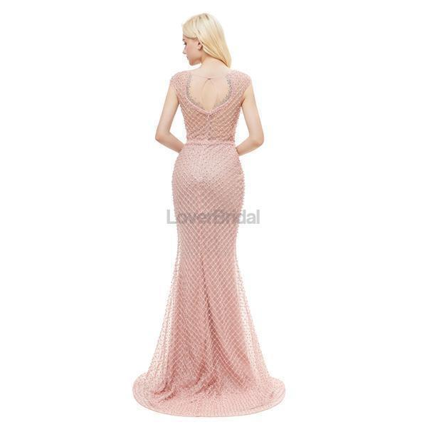 Peach Seen Through Cap-Sleves Lace Beaded Mermaid Evening Prom Dresses, Evening Party Prom Dresses, 12046