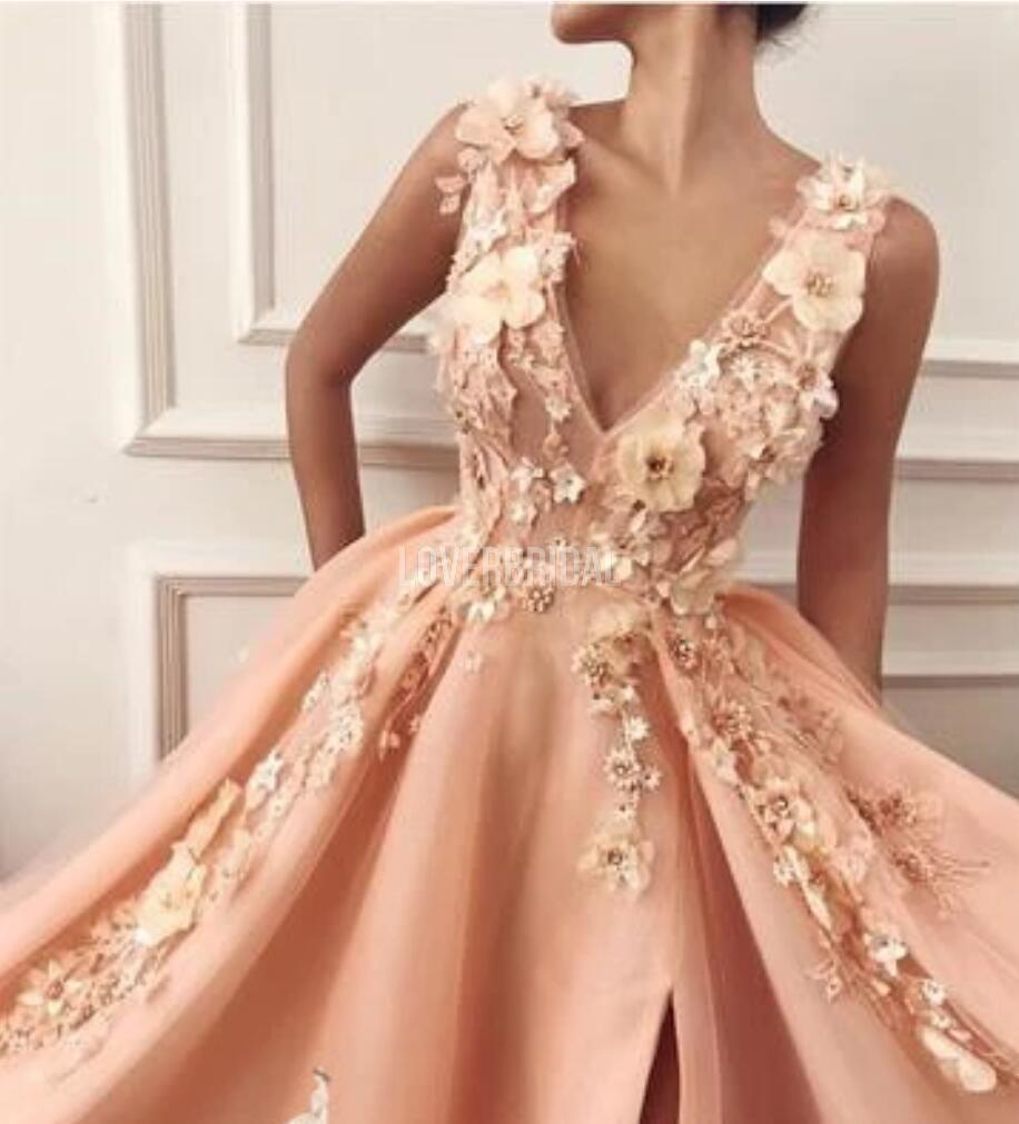 Peach Side Slit Applique Beaded Long Evening Prom Dresses, Evening Party Prom Dresses, 12222