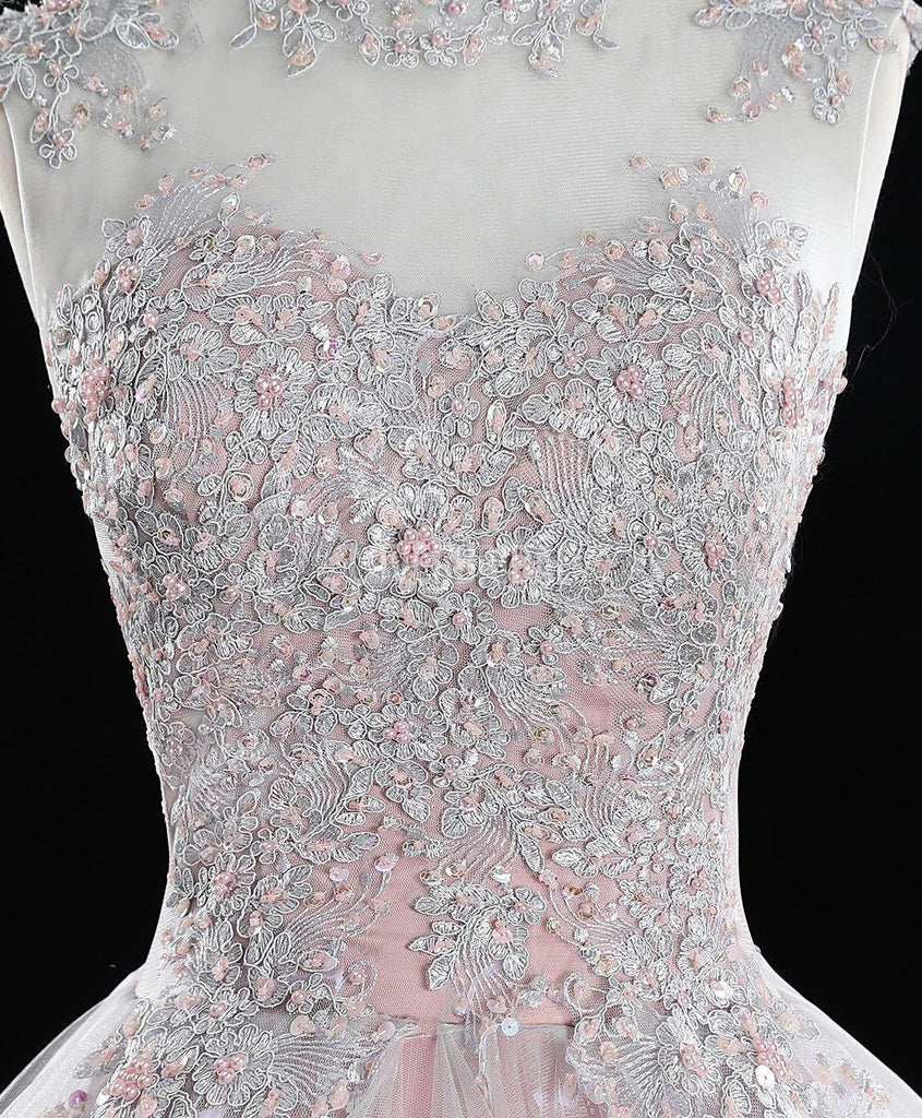 Pink High Neckline Lace Beaded Ruffle Long Evening Prom Dresses, Evening Party Prom Dresses, 12219