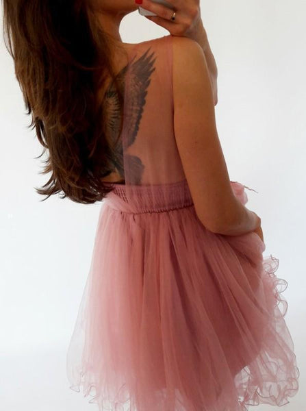 Pink Lace Illusion Cheap Short Homecoming Dresses Online, CM685