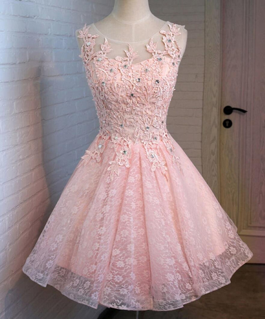 Pink Open Back Lace Beaded Cute Homecoming Prom Dresses, Affordable Short Party Prom Dresses, Perfect Homecoming Dresses, CM320