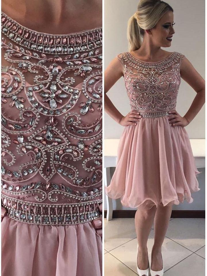 Pink Scoop Rhinestone Beaded Homecoming Dresses 2018, CM418