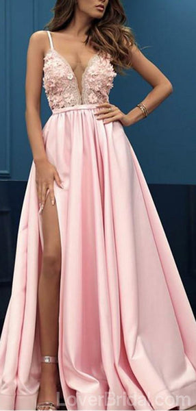 Pink Spaghetti Straps Side Slit Long Evening Prom Dresses, Cheap Custom Sweet 16 Dresses, 18552