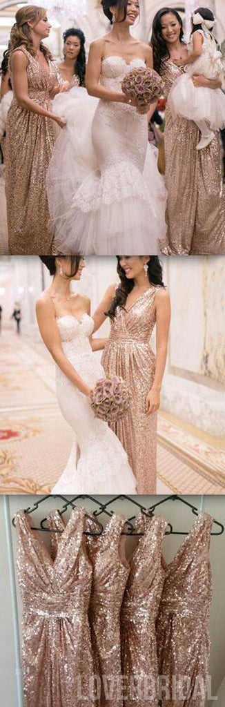 Popular Cheap Sequin Long Off Shoulder V-Neck Floor-Length Bridesmaid Dresses, WG09