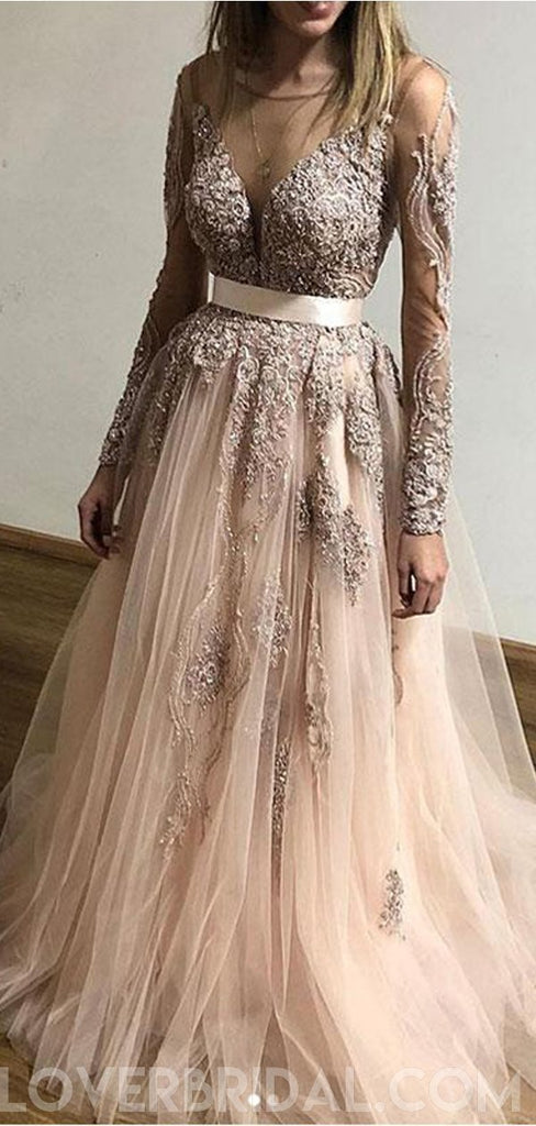 Popular Long Sleeves Lace Cheap Long Evening Prom Dresses, Custom Sweet16 Dresses, 18414