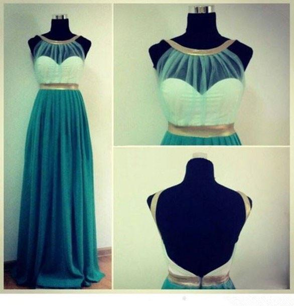 Popular Simple Cheap Formal A Line Open Back Teal Green Long Prom Dresses, WG201