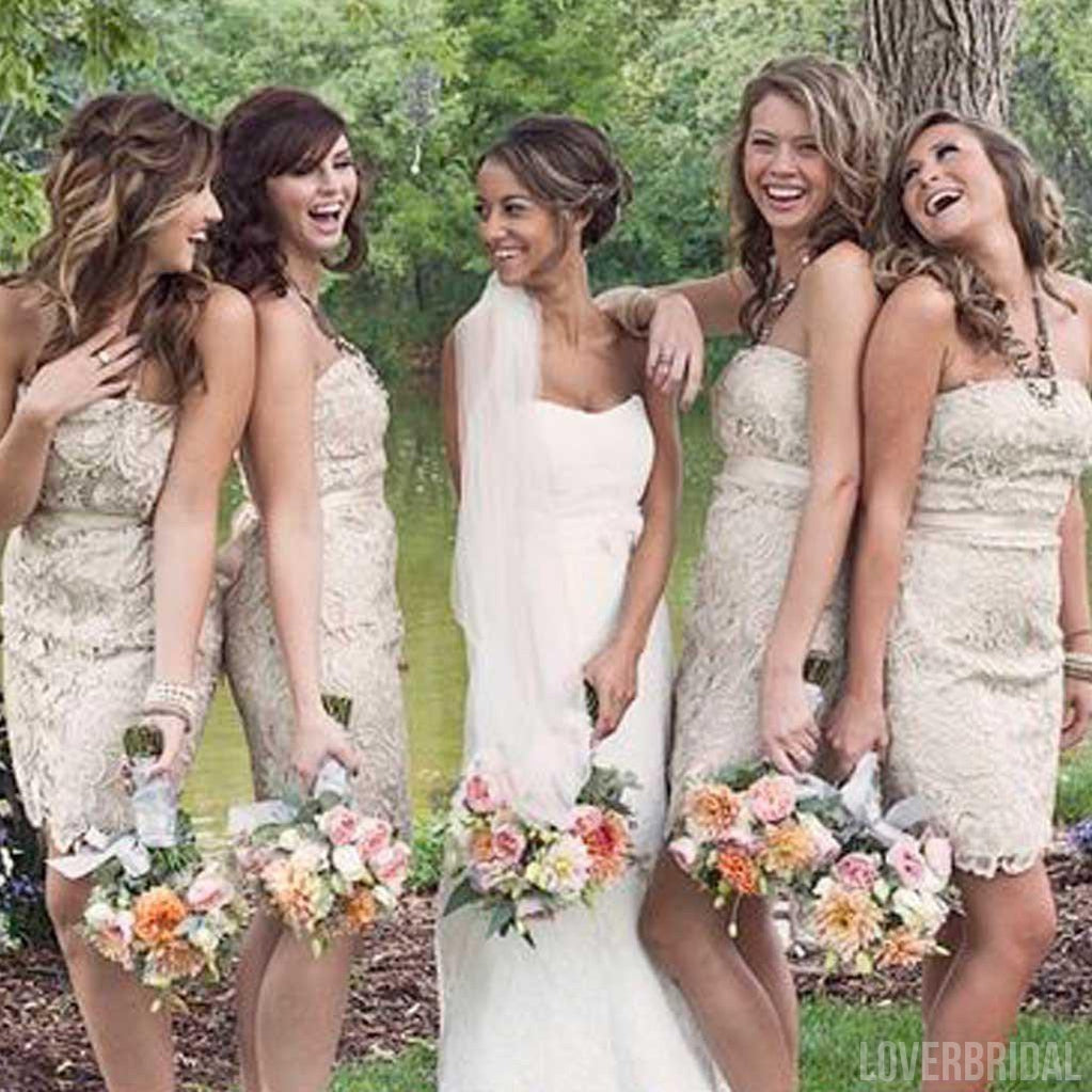 Popular Straight Neckline Lace Short Cheap Wedding Bridesmaid Dresses, WG323
