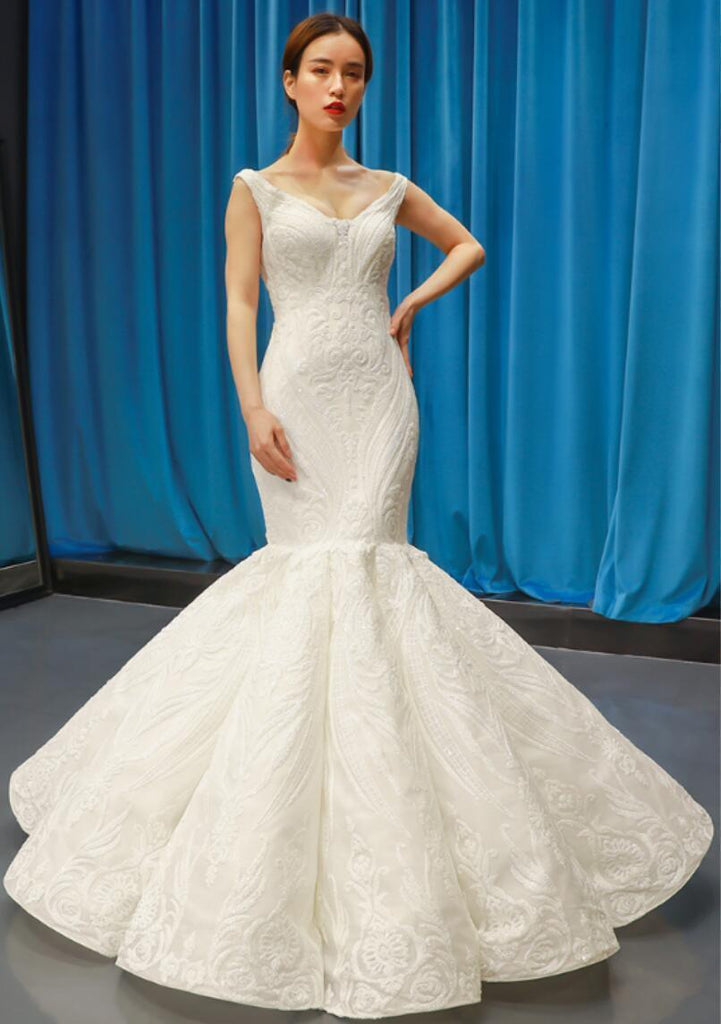 Popular V Neck Lace Mermaid Wedding Dresses, Cheap Wedding Gown, WD724