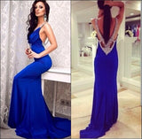 Popular Young Royal Blue Open Back Sexy Cheap Long Prom Dress, WG546