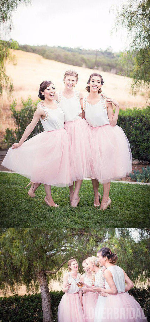 Pretty Junior White Pink Unique Tea Length Wedding Bridesmaid Dresses, WG318