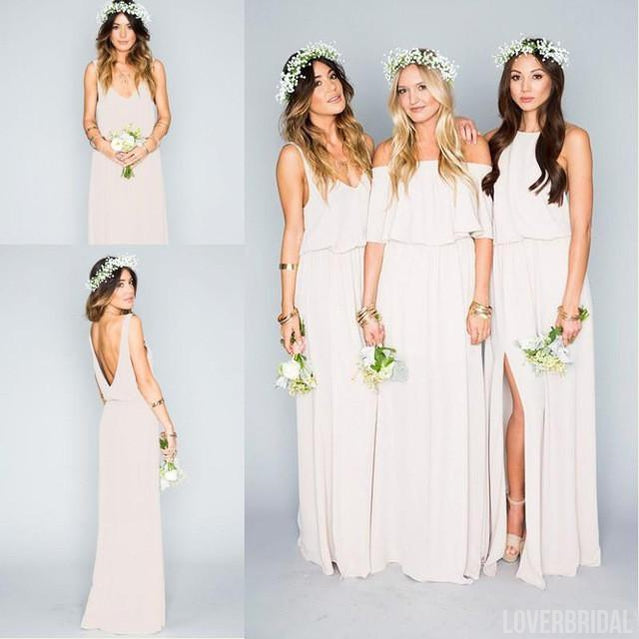 Pretty Young Junior Mint Mismatched Different Styles Side Split Chiffon Cheap Long Bridesmaid Dresses, WG197
