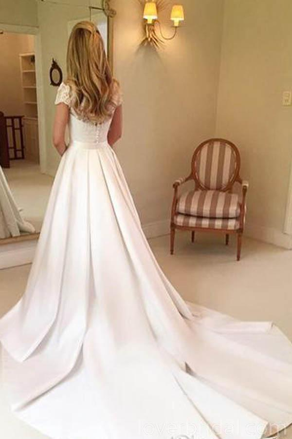 Princess Short Sleeves Lace Cheap Wedding Dresses Online, Cheap Bridal Dresses, WD524