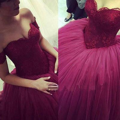 Purple Ball Gown Prom dresses, Long Tulle prom dresses, A line prom dresses, prom dresses 2017, Purple Evening Dresses, 17017