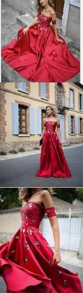 Red Embroidery A line Strapless Long Custom Evening Prom Dresses, 17441