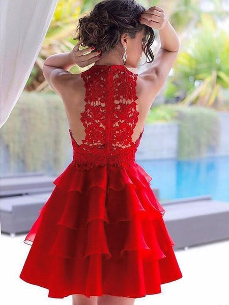 Red Halter See Through Lace Cheap Homecoming Dresses Online, CM717