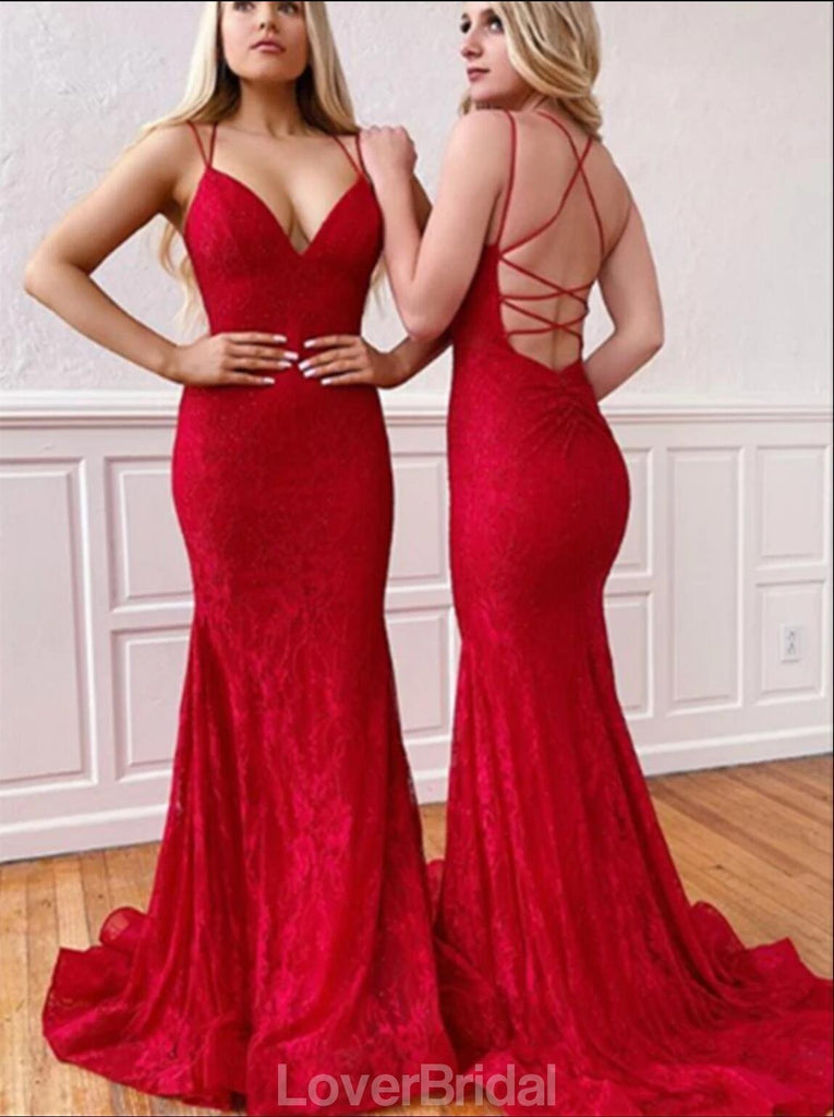 Red Lace Mermaid Backless Evening Prom Dresses, Evening Party Prom Dresses, 12196