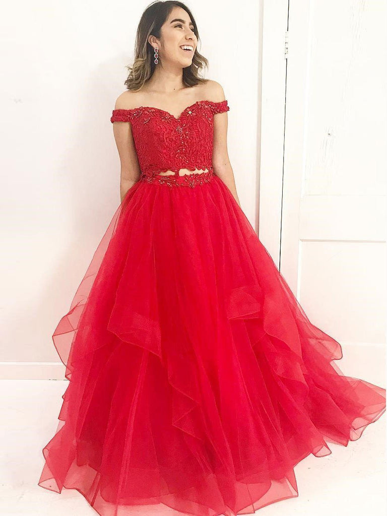 Red Off Shoulder Lace Two Pieces A line Long Custom Evening Prom Dresses, 17443