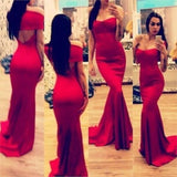 Red Sexy Elegant Sweetheart Mermaid Cheap Long Prom Dress, WG535