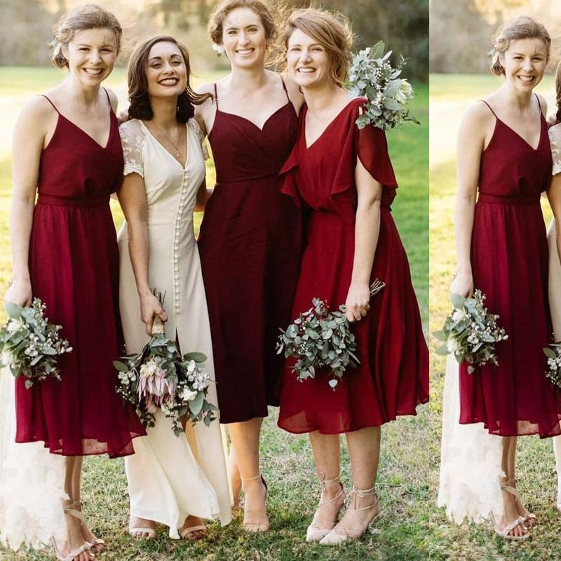 Red Wine Mismatched Short Chiffon Cheap Bridesmaid Dresses Online, WG311