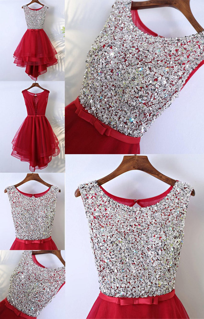 Rhinestone Sequin High Low Open Back Red Homecoming Prom Dresses, Affordable Corset Back Short Party Prom Dresses, Perfect Homecoming Dresses, CM241