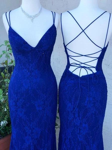 Royal Blue Lace Mermaid Long Evening Prom Dresses, Evening Party Prom Dresses, 12276