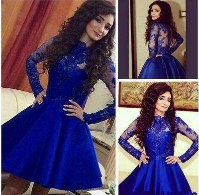 Royal Blue Long Sleeve Lace Pretty Knee Length Cheap Short Graduation Homecoming Dress, WG701