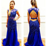 Royal Blue Open Back Heavy Beaded Sexy Mermaid Long Prom Dress, WG552