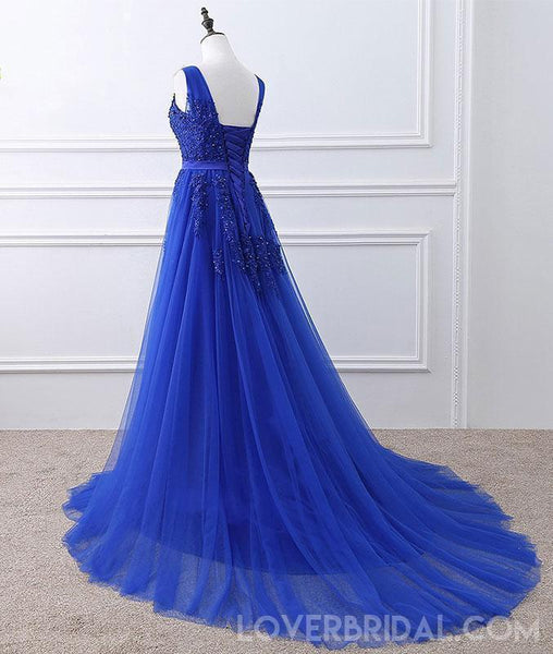 Royal Blue V Neck Lace Beaded Applique Long Evening Prom Dresses, Cheap Sweet 16 Dresses, 18426