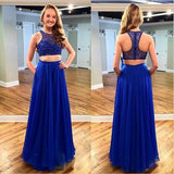 Royal BlueTwo Pieces Junior Cheap Chiffon Pretty Long Prom Dresses, WG505